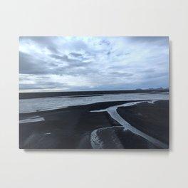 Black sand and Ice Metal Print