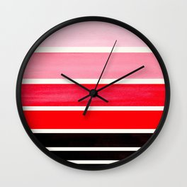 Red Minimalist Mid Century Modern Color Fields Ombre Watercolor Staggered Squares Wall Clock