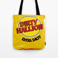 hallion Tote Bags featuring DIRTY HALLION by SPECIALITEES