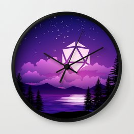 D20 Dice Moon Over Clouds Purple Night Tabletop RPG Landscape Wall Clock