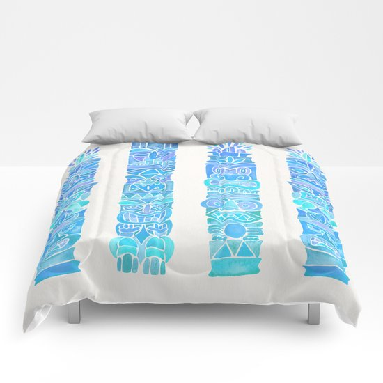 Tiki Totems – Turquoise Palette Comforters
