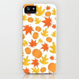 Colorful leaves and pumpkins iPhone Case