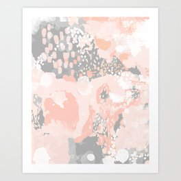 Penelope - abstract millenium pink and grey painting large canvas art decor Art Print