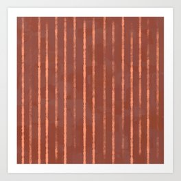 Modern Hand-painted Stripes in Bright Salmon Orange and Red Terracotta Colors, Abstract Painting Art Print
