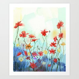 Watercolor flowers painting. Spring floral nature background Art Print