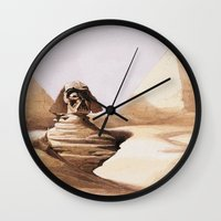 egypt Wall Clocks featuring Dark egypt by Tony Vazquez
