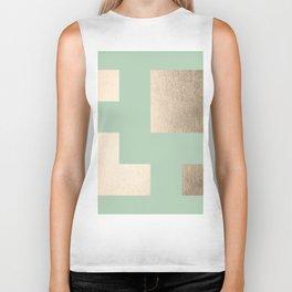 Simply Geometric White Gold Sands on Pastel Cactus Green Biker Tank