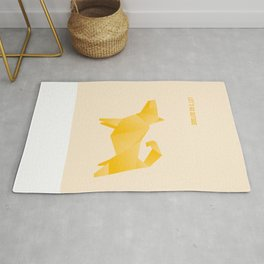 Let's Go Outside - Origami Yellow Dog Rug