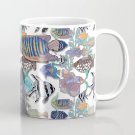 Black cat looking at an exotic fish tank Coffee Mug