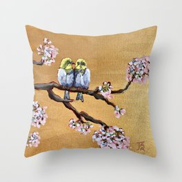 Cherry Blossom Chicks Throw Pillow
