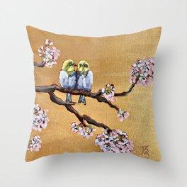 Cherry Blossom Chicks Throw Pillow