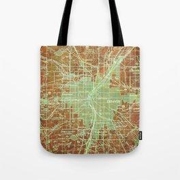 12-Denver Colorado 1958, America cities maps Tote Bag