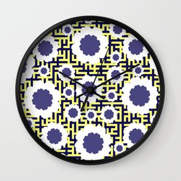 Floral maze in yellow and blue Wall Clock