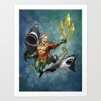 aquaman Art Prints featuring Aquaman by Alex Heuchert
