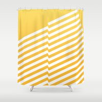 bands Shower Curtains featuring Yellow Bands R. by blacknote