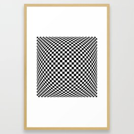 op art - black and white checks bulge Framed Art Print
