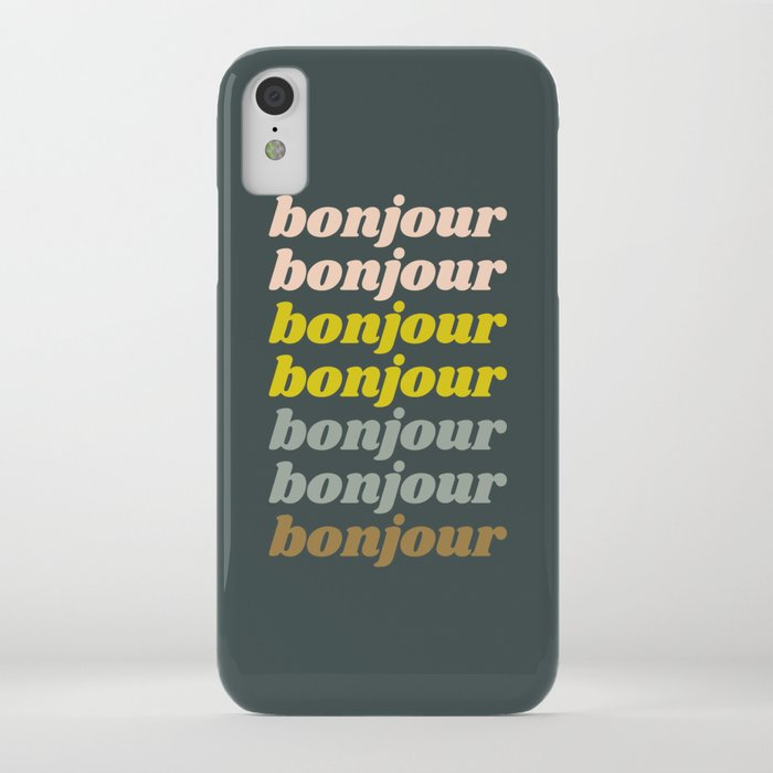 Bonjour in Pretty Pastels iPhone Case