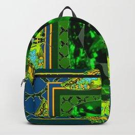 DECORATIVE  GREEN EMERALD GEM & BUTTERFLY ART DESIGN Backpack