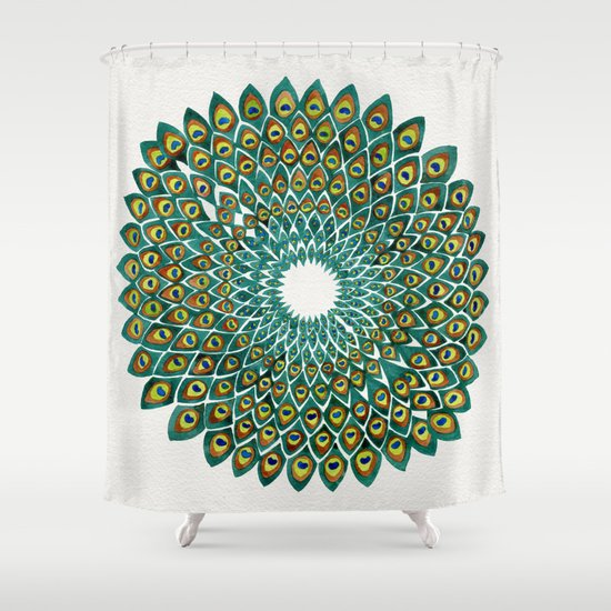 Peacock Mandala Shower Curtain By Cat Coquillette