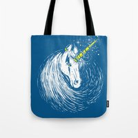 unicorns Tote Bags featuring Scar Unicorns by Steven Toang