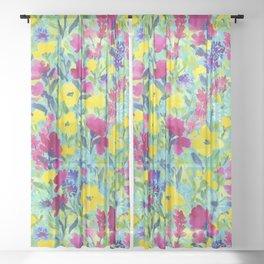 Wild Garden Aqua Sheer Curtain