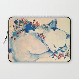 Cat sleeping with flowers Laptop Sleeve