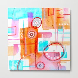 Geometric Abstract Watercolor Metal Print