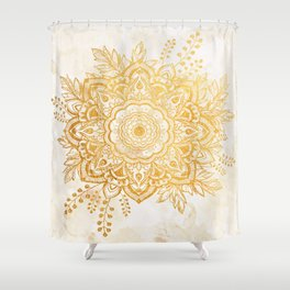 Queen Starring of Mandala-Gold Sunflower II Shower Curtain
