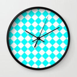 Diamonds - White and Aqua Cyan Wall Clock