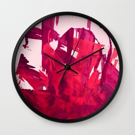 Embers: a vibrant abstract piece in pinks Wall Clock