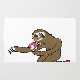 Skater Sloth loves donut Rug