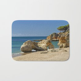 rock formation on Olhos d'Agua beach, Portugal Bath Mat