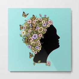 Floral Lady Metal Print