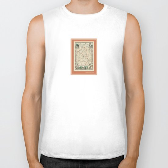 Bedford Village New York Map Print Biker Tank