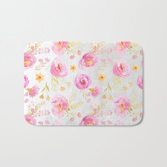 Delicate Poppy Pattern Bath Mat