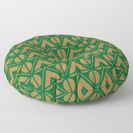 Green Sun & Mountains Abstract Retro Floor Pillow