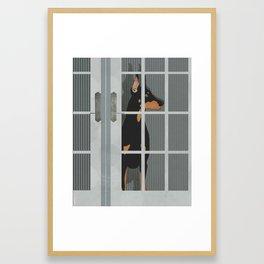 Guard Dog Doberman Pinscher Framed Art Print