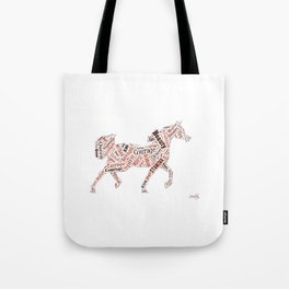 Arabian Horse Words Tote Bag