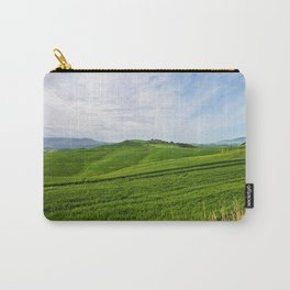 Beautiful spring evening froggy landscape in Tuscany countryside, Italy Carry-All Pouch