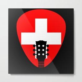 Switzerland Flag Guitar Plectrum Metal Print