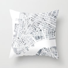 Map Manhattan Gray NYC Throw Pillow