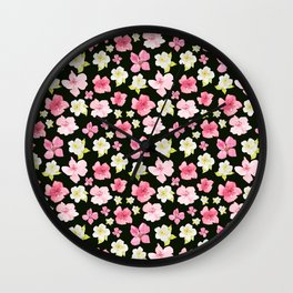 Blooms On Black Wall Clock