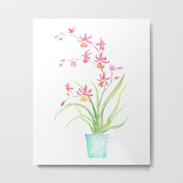 Watercolor pot orchid Metal Print
