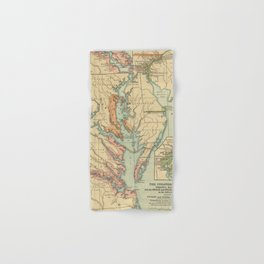 Vintage Virginia and Maryland Colonies Map (1905) Hand & Bath Towel