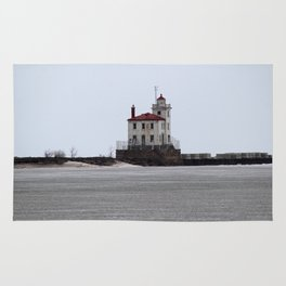 Mentor Headlands Lighthouse in Winter Rug