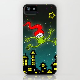 Christmas Frog Jumping out of Joy iPhone Case