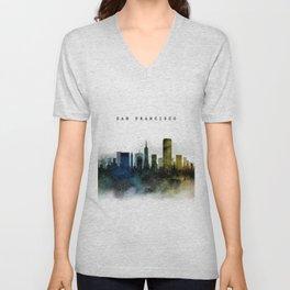 San Francisco Watercolor Skyline Unisex V-Neck