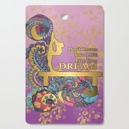 Gymnastics- Live your Dream- In Purple Gradient and Gold Watercolor Doodle Design Cutting Board