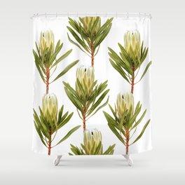 White Pride Protea Shower Curtain