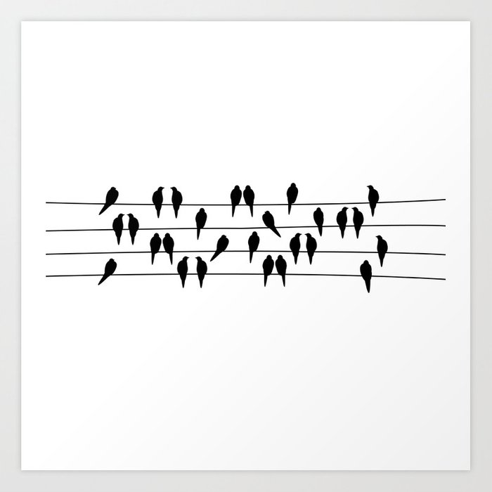 Black and white birds on a wire art print